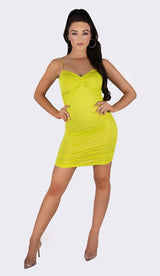 'NORRIE' Ruched Mini Dress - Neon Green - GLAMBAE FASHION