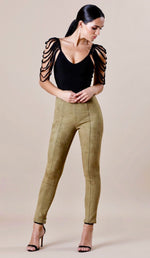 """NINA""  Suede Bodycon Pants - Army Green - GLAMBAE FASHION"