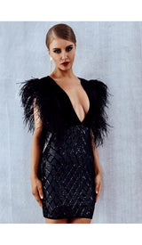 'MIA'  Sequin Feather Dress