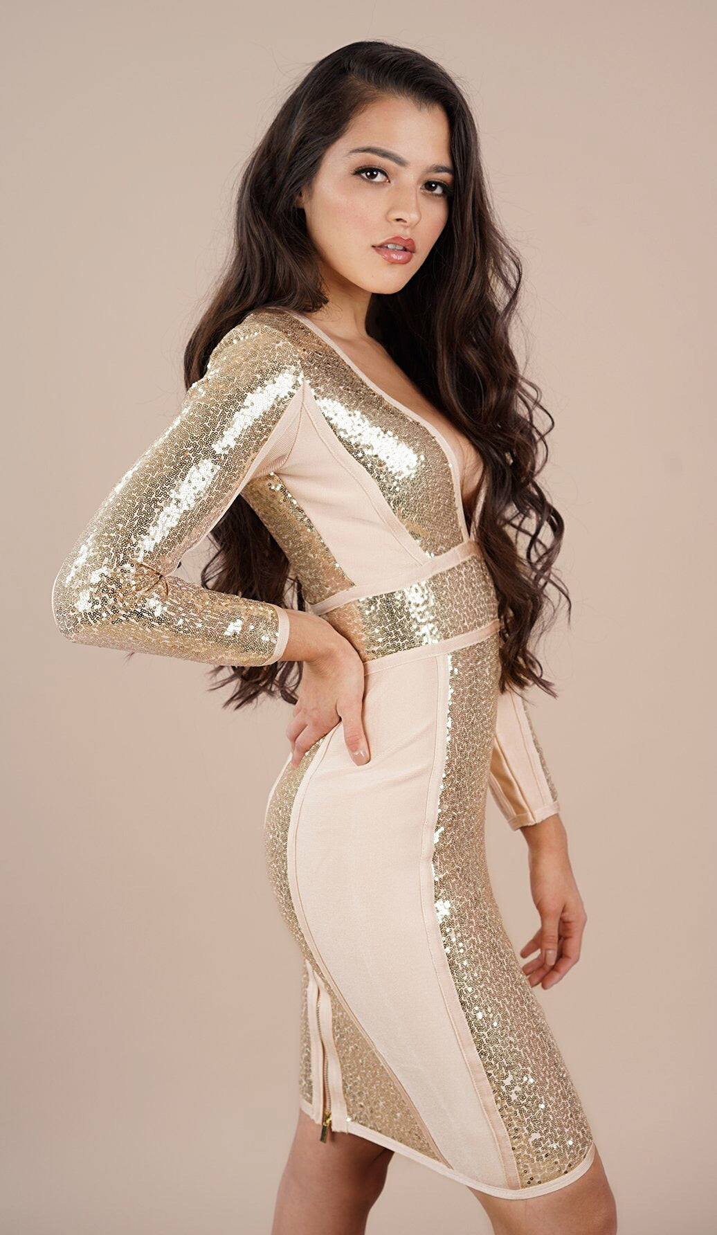 'JESSA' Sequin Bodycon Dress - GLAMBAE FASHION