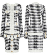 RAQUEL Houndstooth Gold Button Suit
