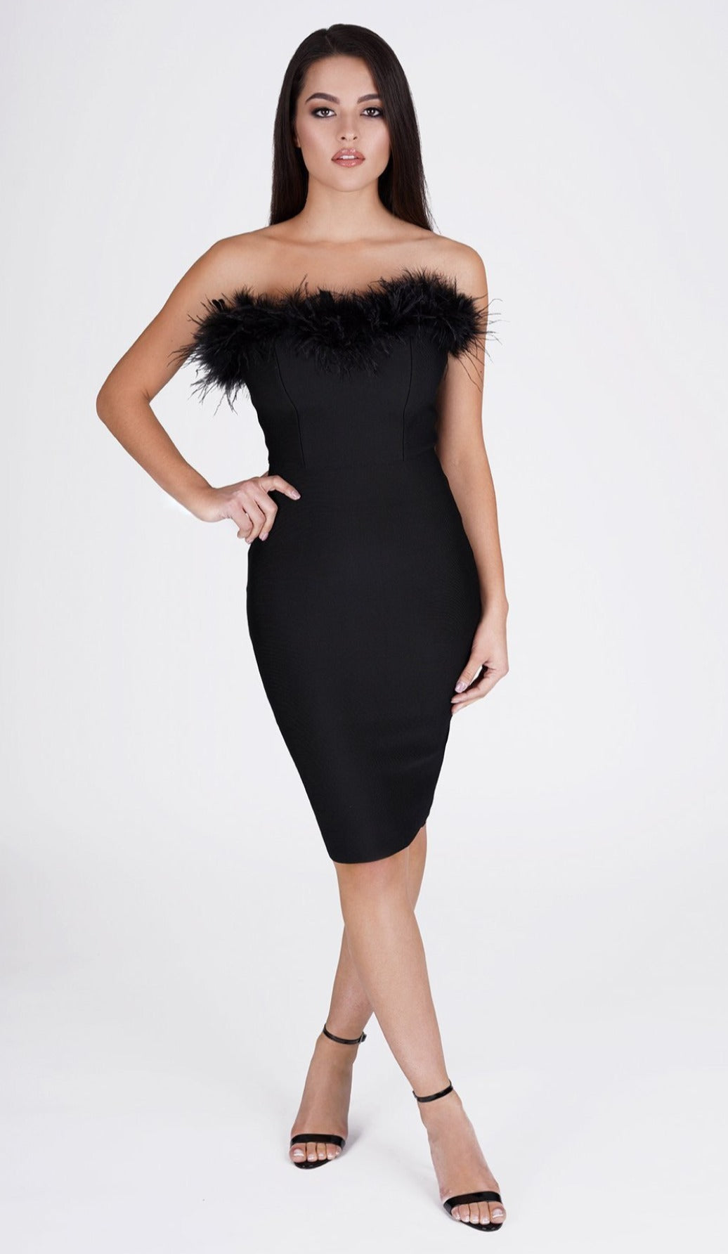 'FRANCESCA' Feather Bodycon Dress