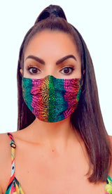 RAINBOW FOIL FASHION MASK WITH BUILT IN NOSE WIRE