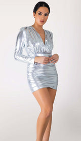 JETTA Metallic Mini Dress
