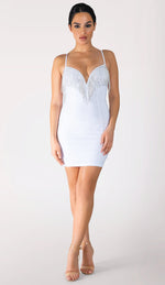KERI Diamante Bodycon Dress - White