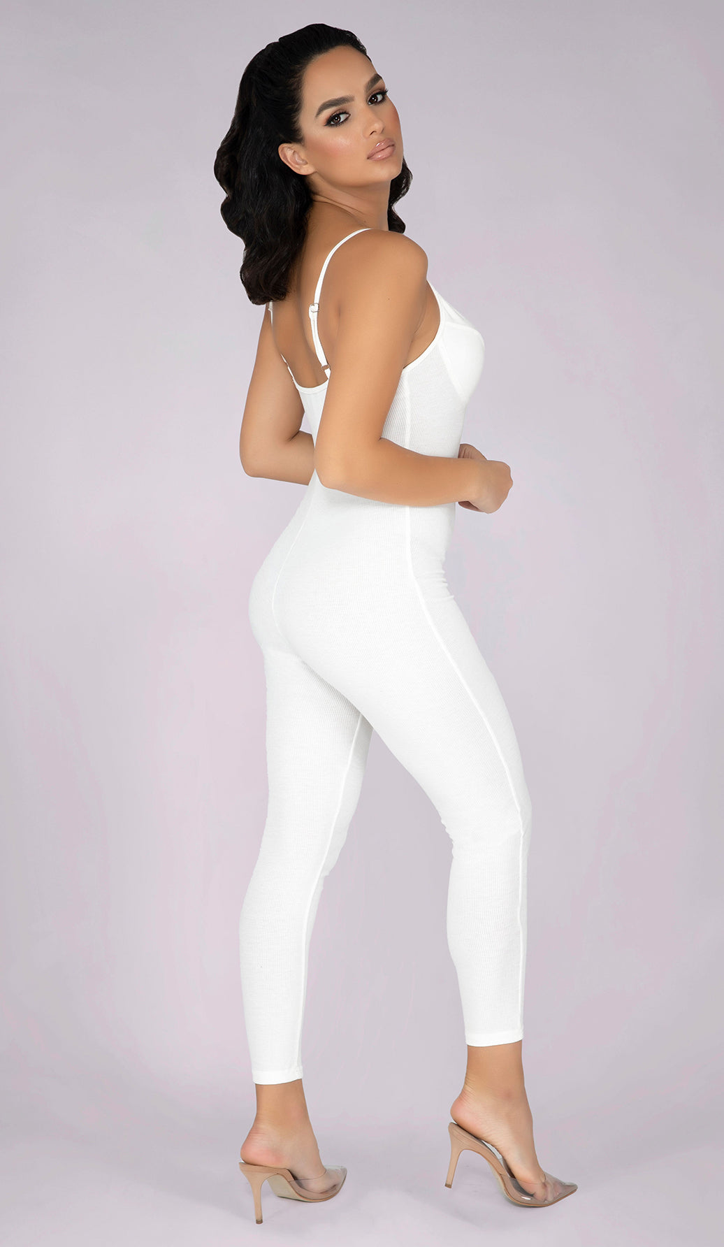 NELLA Ribbed Jumpsuit - White