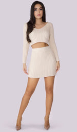RICCI Ribbed High Waisted Mini Skirt