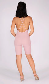 RILEY Sculpted Ribbed Playsuit - Blush