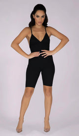 RILEY Sculpted Ribbed Playsuit - Black