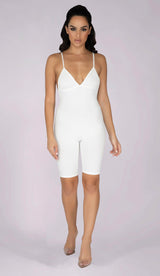 RILEY Sculpted Ribbed Playsuit - Cream