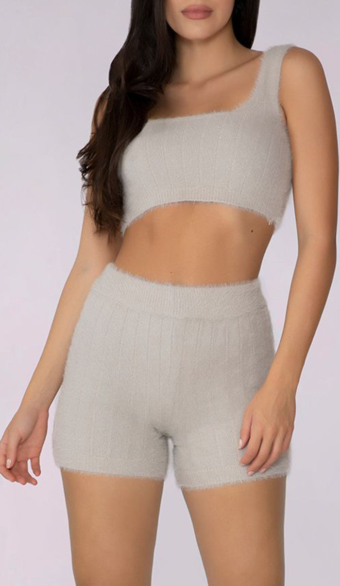 SIMA Fluffy Knit  Crop Top - Chalk