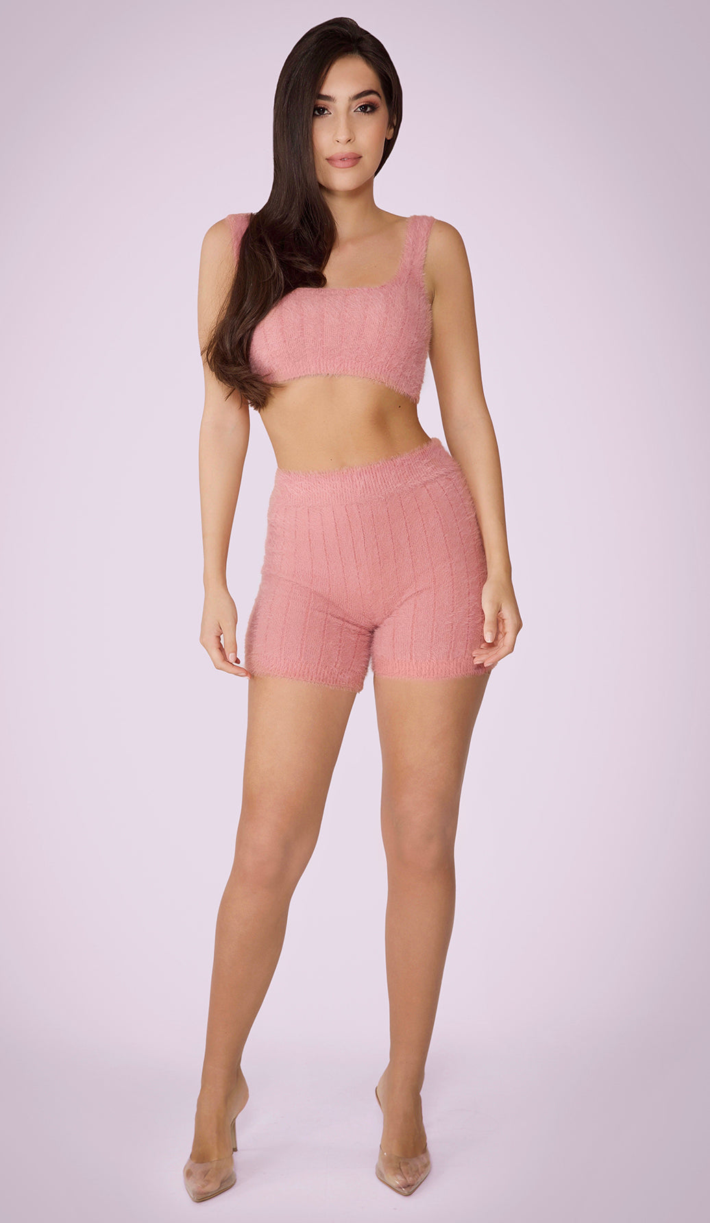 CRISSA Fluffy Knit Biker Shorts - Dusty Rose
