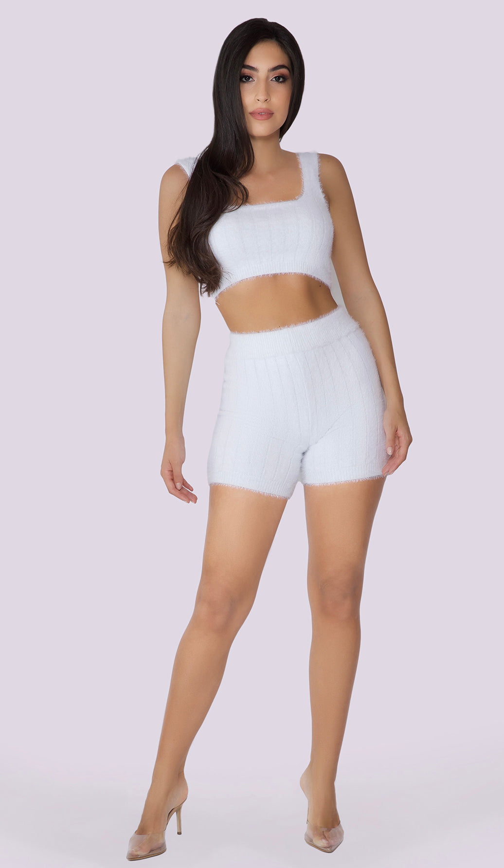 SIMA Fluffy Knit Crop Top - White