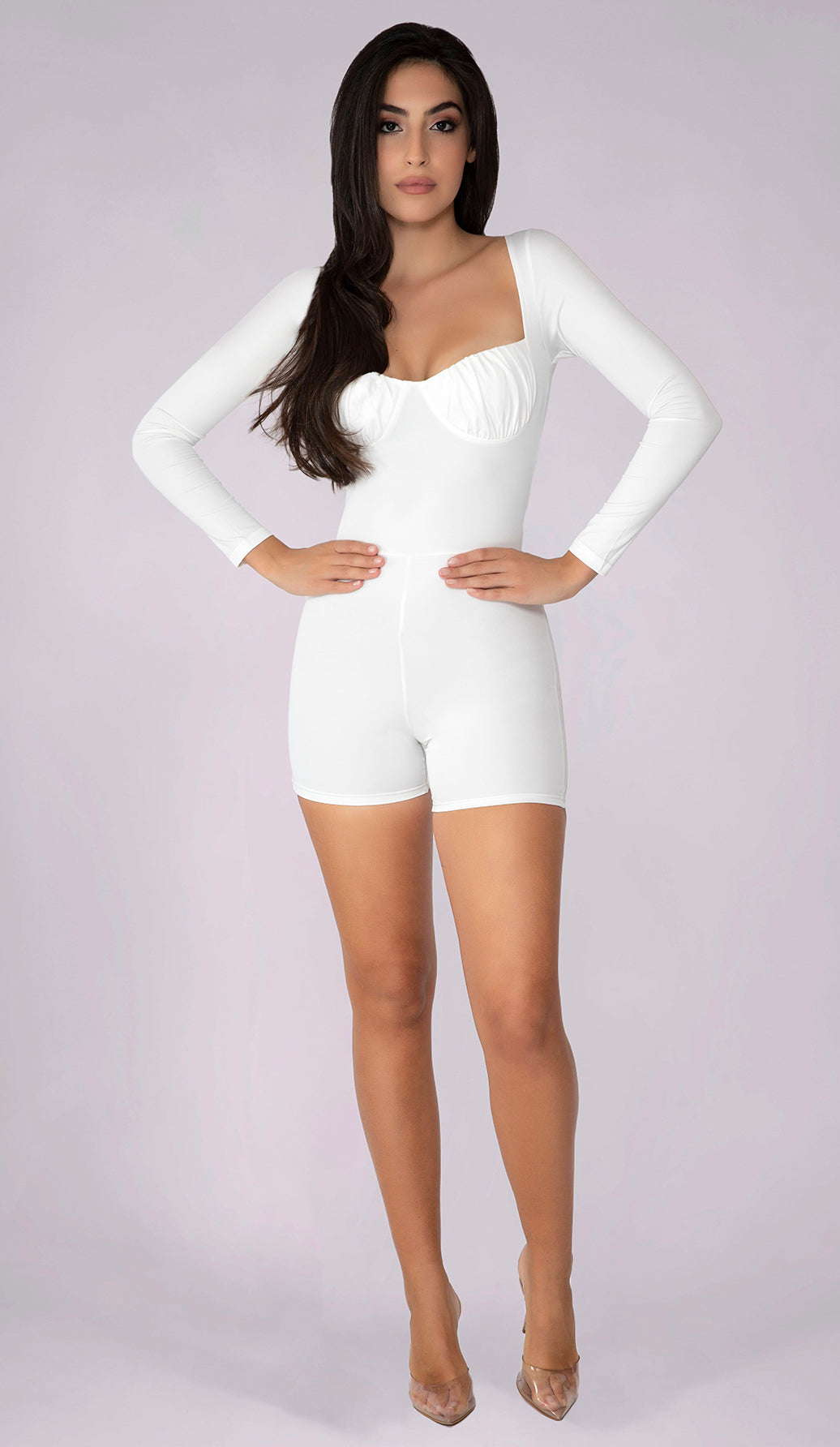 STEPH Bustier Playsuit - White