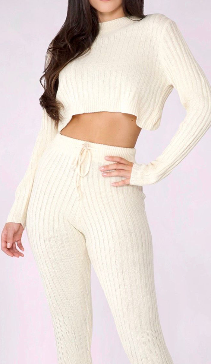 SAVANNA Ribbed Knit Cropped Sweater