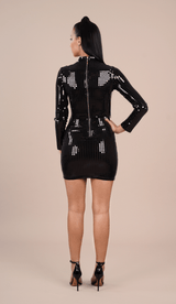 'TINSLEY' Shiny Bodycon Dress - Black - GLAMBAE FASHION