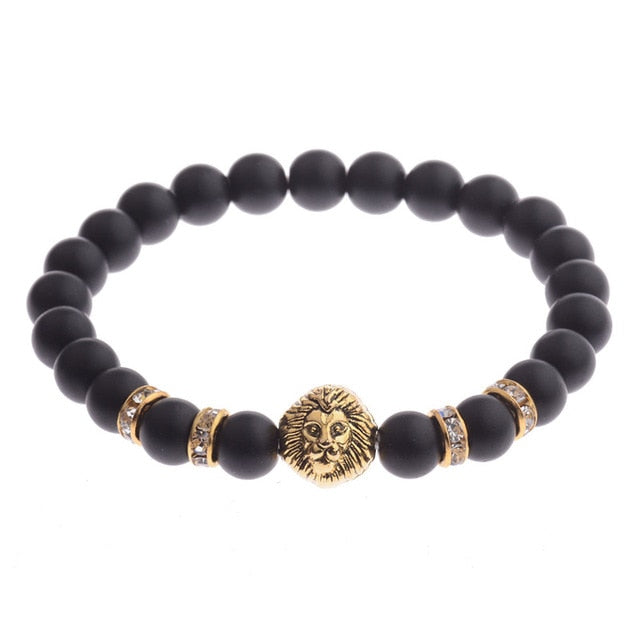 Richard The Lionheart Bracelet (Matte Agate Beads)