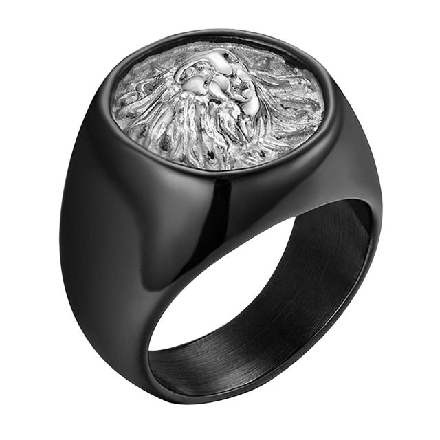 The Lionheart Black Silver Ring