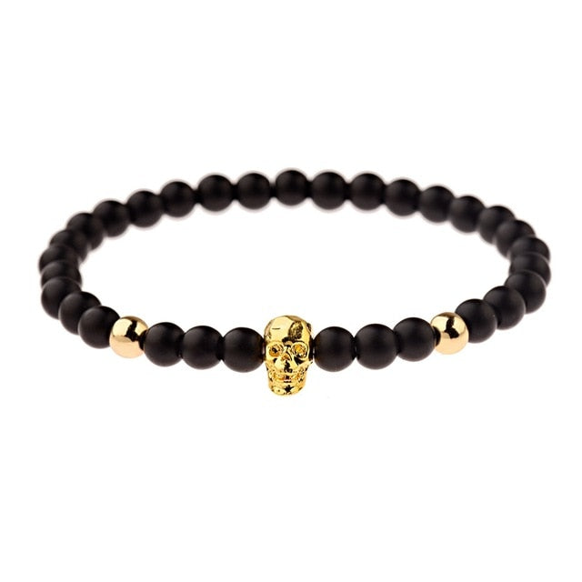 Black Plague Bracelet (Gold Skull)