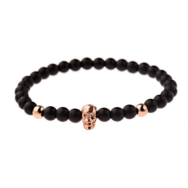 Black Plague Bracelet (Rose Gold Skull)