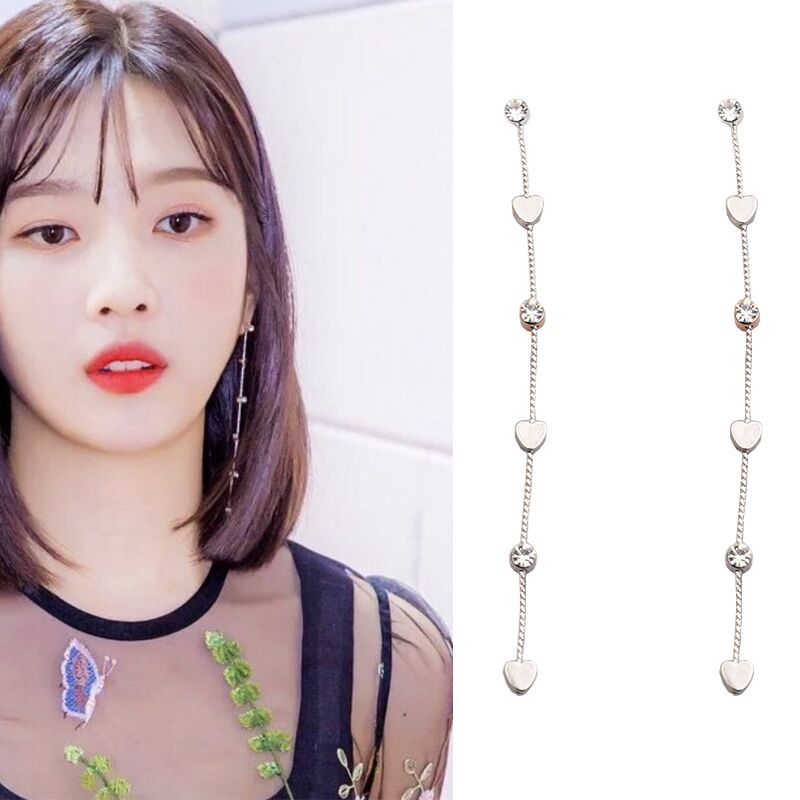 Red Velvet Classic Long Love Earrings (2 Couleurs)