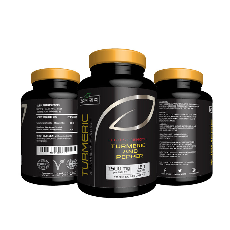 Turmeric and Black Pepper | 180 Tablets, each with 1500mg of Turmeric | UK Manufactured