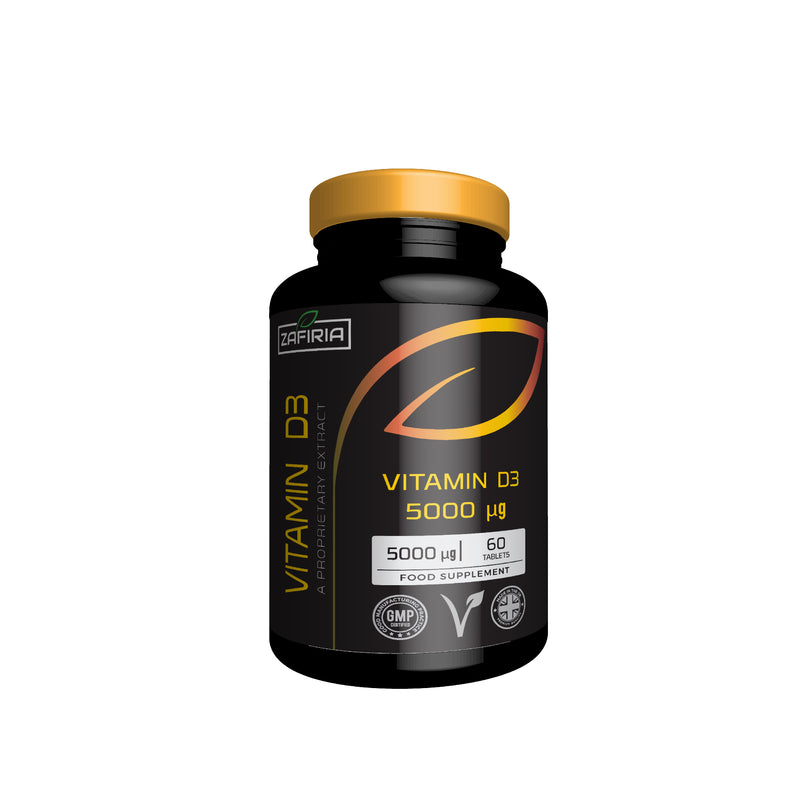 Vitamin D3 5000 mcg | Immune System Support | 60 Tablets | Vegetarian Friendly