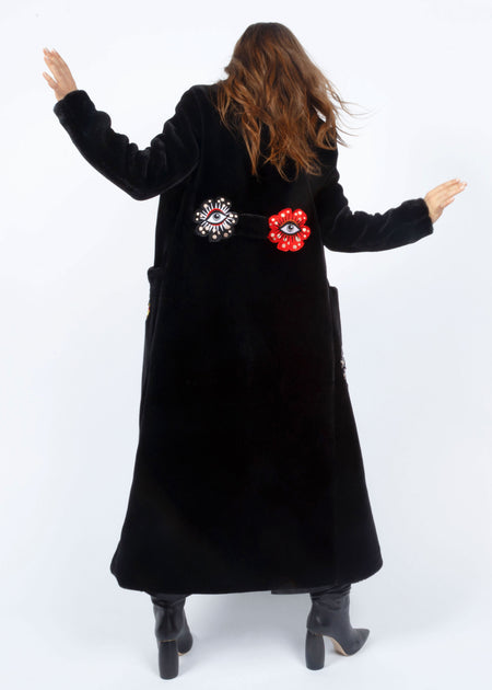 FLOWER EYES ECO FUR COAT