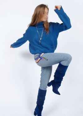 TURTLE NECK CABLE KNIT JUMPER INTENSE BLUE
