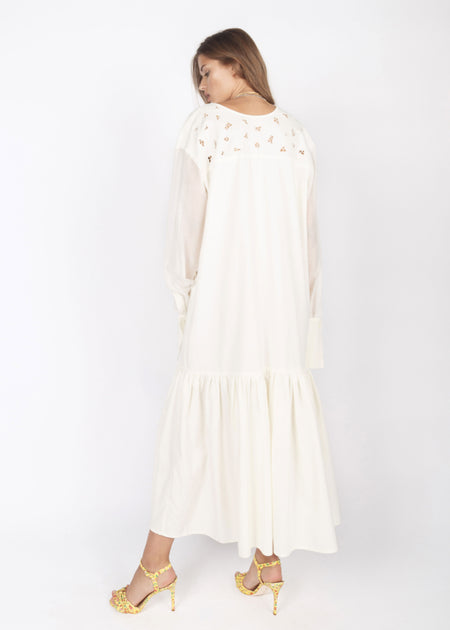 WHITE HANDMADE EMBROIDERED VASELEK DRESS