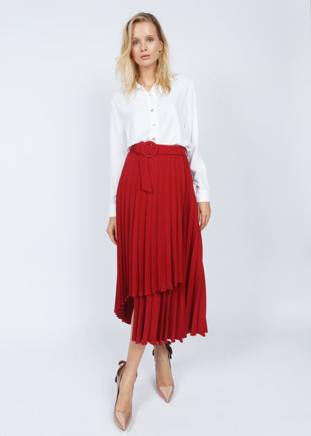 PLEATED SKIRT RED