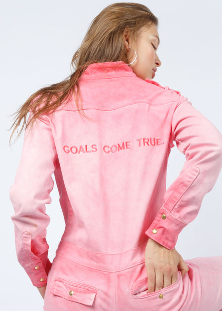 'GOALS COME TRUE' JUMPSUIT PINK