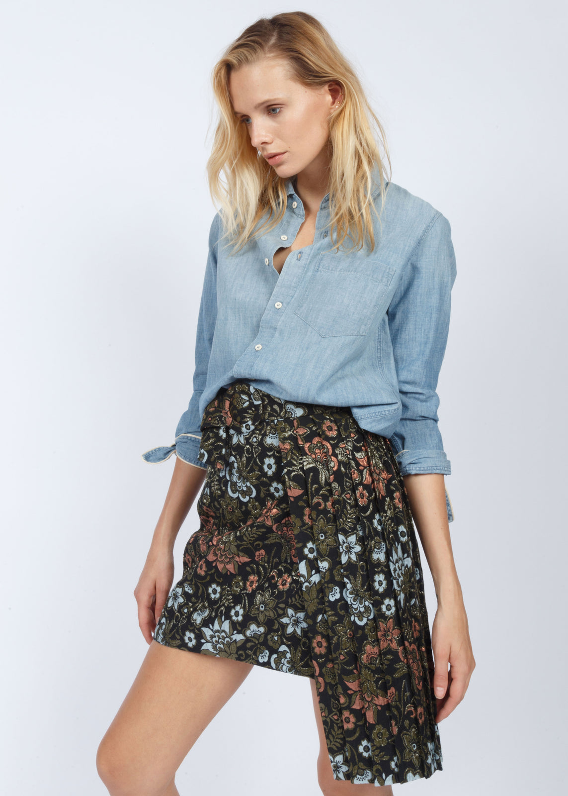 SKIRT BROWN FLORAL PRINT
