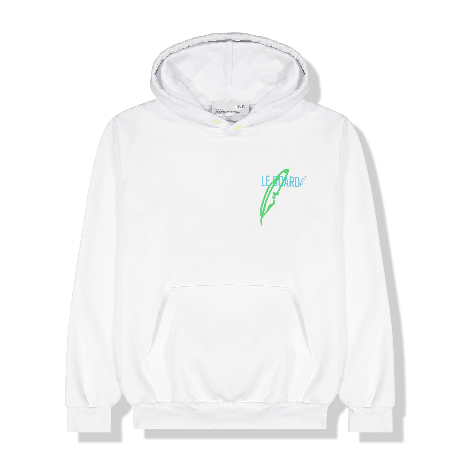 LOGO HOODIE WHITE/GREEN FEATHER