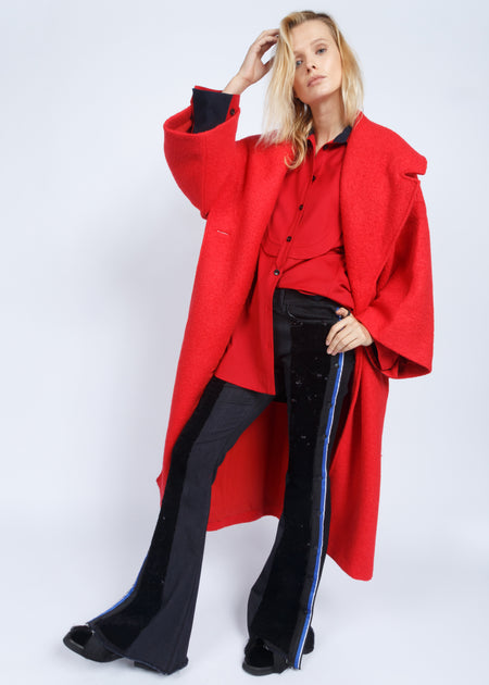 KIMONO SLEEVE BLANKET COAT FIRE RED