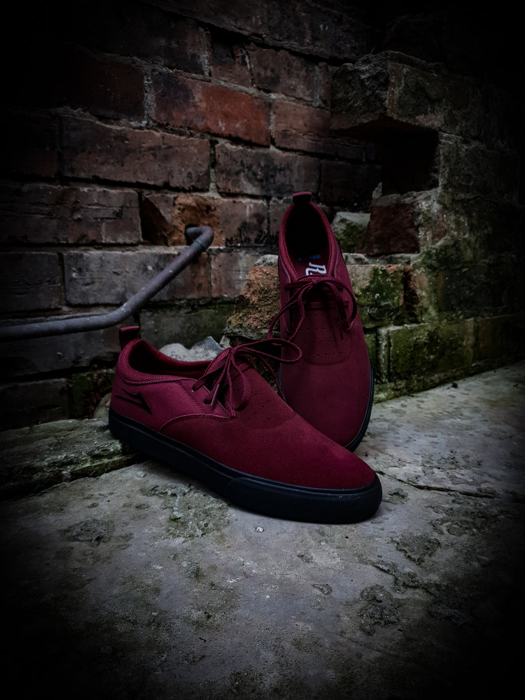 LAKAI - RILEY 2 SHOES - BURGUNDY/BLACK SUEDE