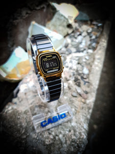 CASIO - VINTAGE LADIES DIGITAL WATCH - LA670WEGB-1B - BLACK/GOLD