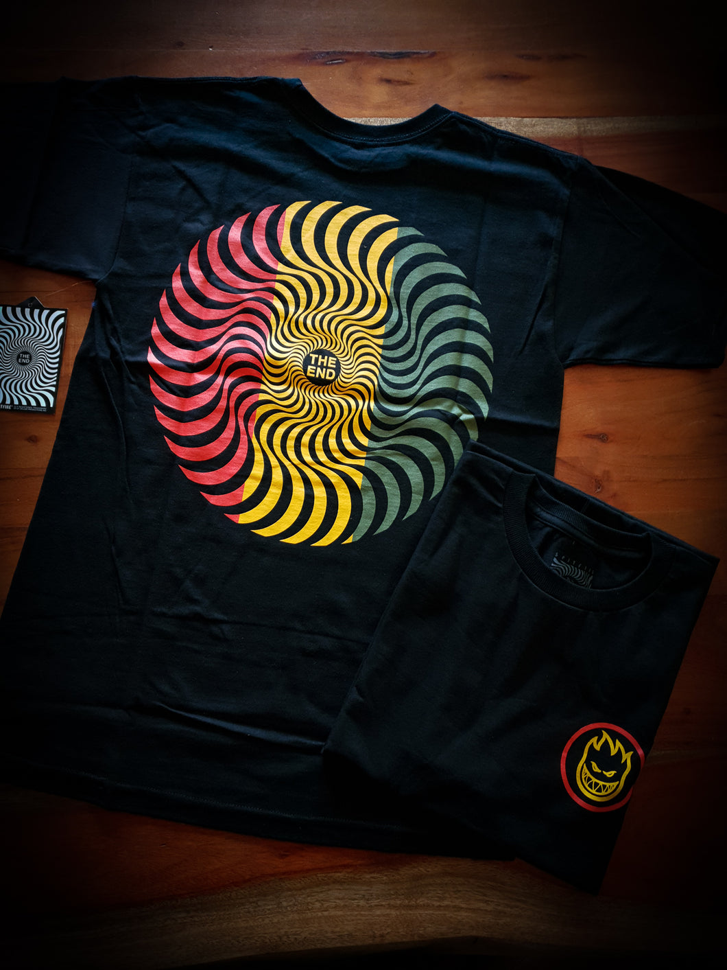 SPITFIRE - CLASSIC SWIRL TEE - BLACK/RED/GREEN/YELLOW