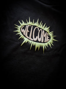 WELCOME - BURST GARMENT-DYED BLACK - TEE