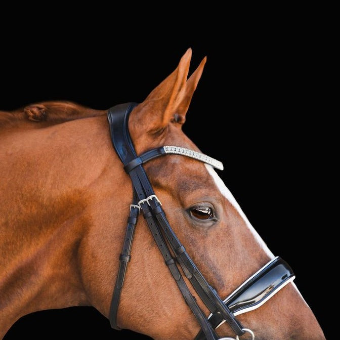 'Adeline' Italian leather bridle - (double) - Lumiere Equestrian