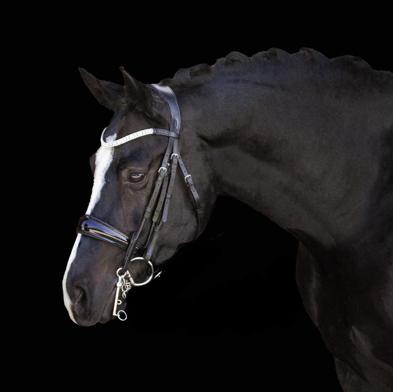 'Amie' rolled Italian leather bridle - (double) - Lumiere Equestrian
