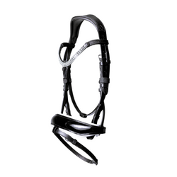 'Adeline' black Italian leather bridle (hanoverian) - black - Lumiere Equestrian