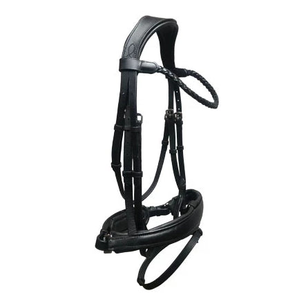 'Alina' black/brown Italian leather bridle (convertible) - Lumiere Equestrian