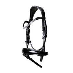 'Amie' rolled Italian leather bridle (hanoverian) - black - Lumiere Equestrian