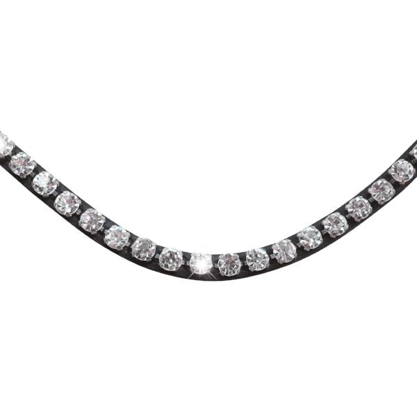 Diamante crystal browband - (black leather, smaller loop) - Lumiere Equestrian