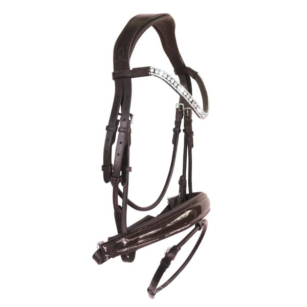 'Amie' rolled Italian leather bridle (hanoverian) - brown - Lumiere Equestrian