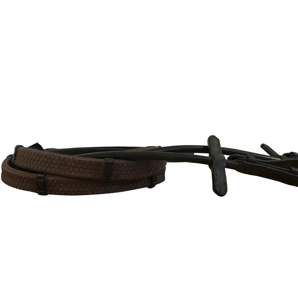 Leather & rubber grip reins (rolled) - black or brown (silver fittings) - Lumiere Equestrian