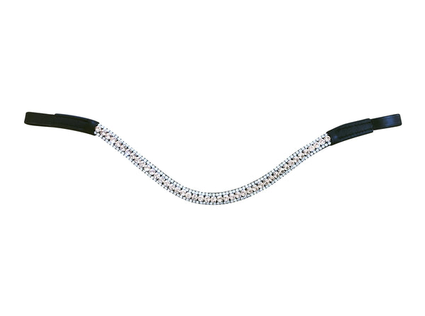 Champagne crystal browband - (black leather) - Lumiere Equestrian