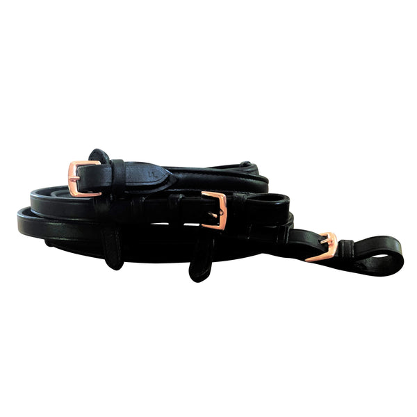 Padded nappa leather reins - black  (rose gold fittings) - Lumiere Equestrian