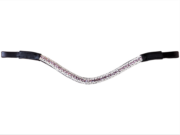 Lavender crystal browband - (black leather)